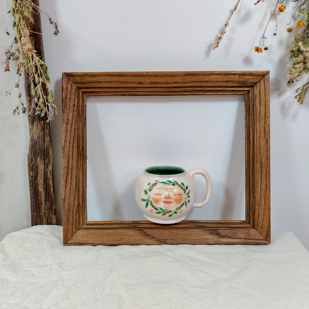 Floral Face Mug in Sea Glass