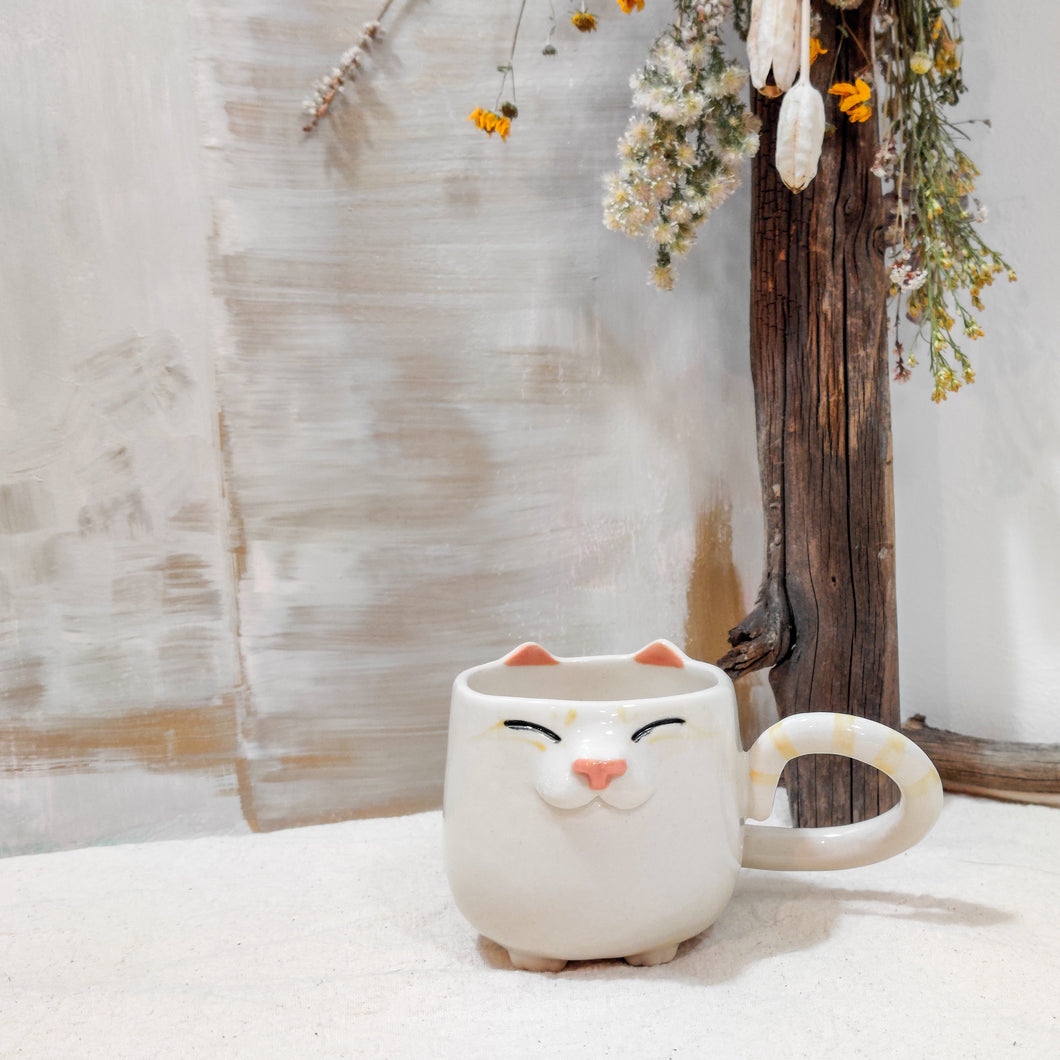6 oz Striped Cream Kitty Mug