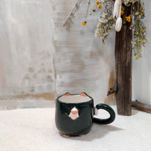 Load image into Gallery viewer, 6oz Dark Grey and White Kitty Mug