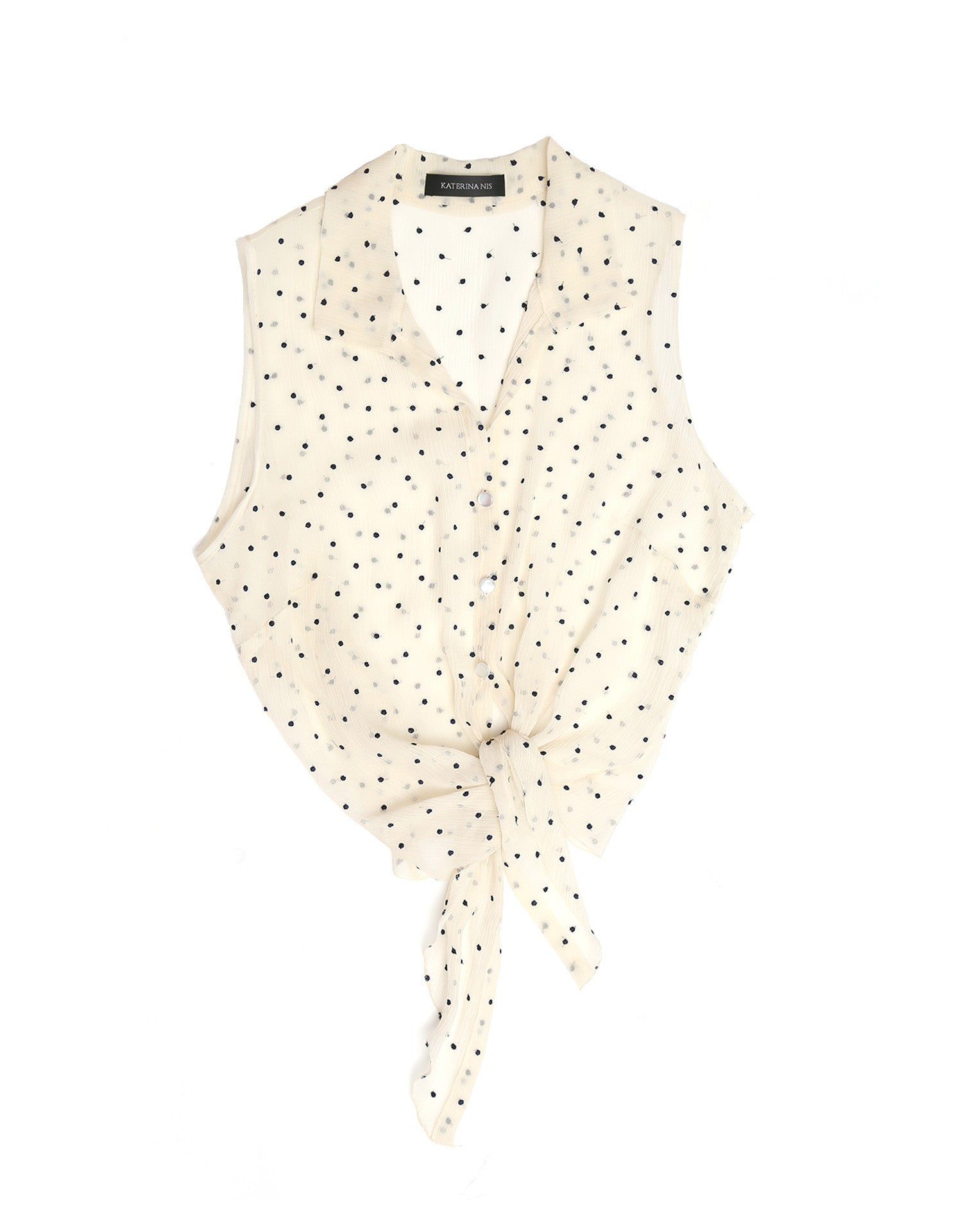 Embroidered dot tie up top