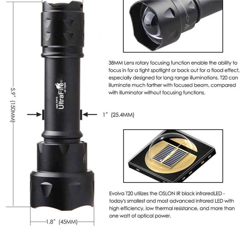 Ultrafire T-20 Zoomable Infrared Night Vision Torch