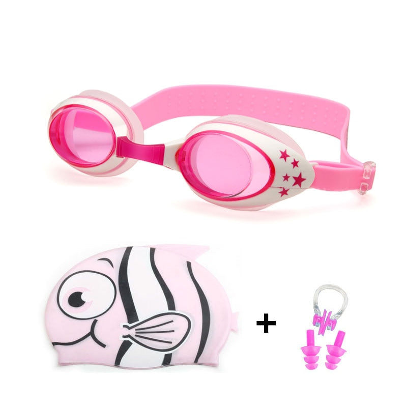 The Happy Swimmer Kit For Toddlers (Swimming Goggles + Ear/Nose plug + Cap)