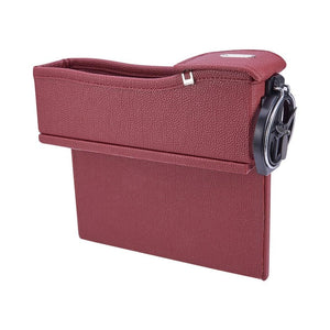 Premium Leather Car Organizer with Cup Holder