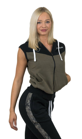 Ladies Sleeveless Hoodie - Schwarz / Cypres - Gym Generation-