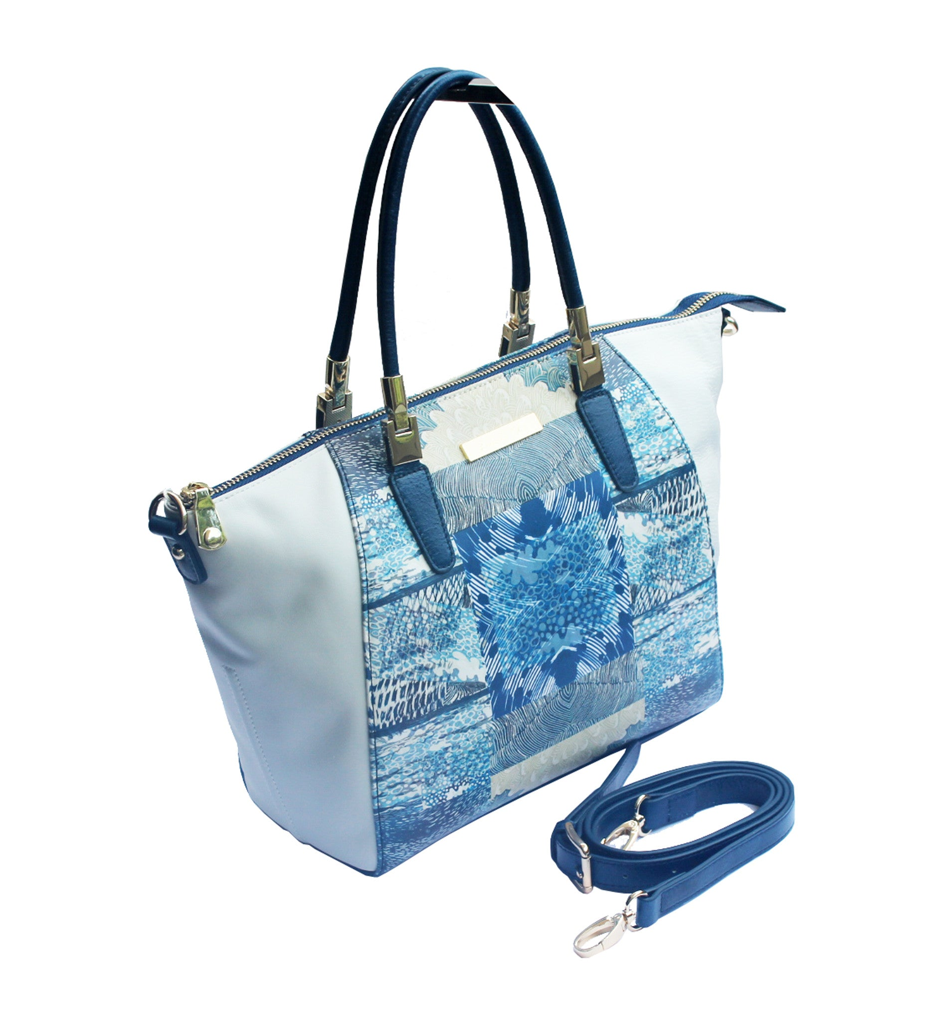 White and Blue Leather Handbag Louella Odie