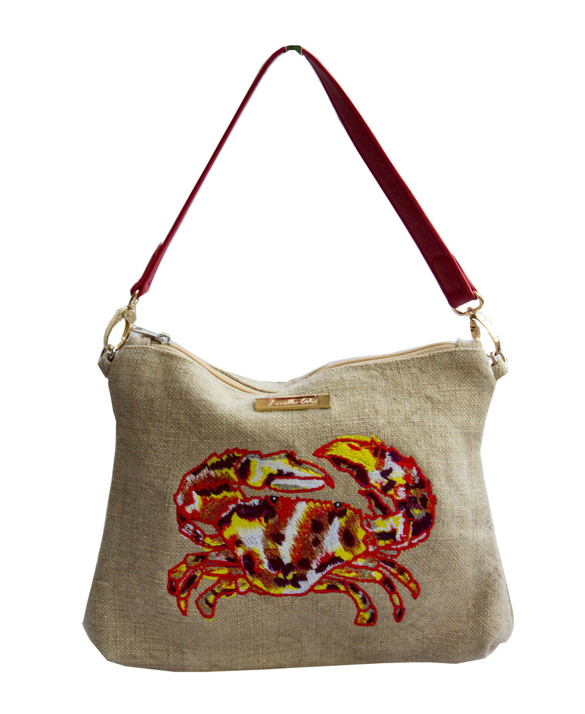 Embroidered Canvas with Crab Clutch Bag
