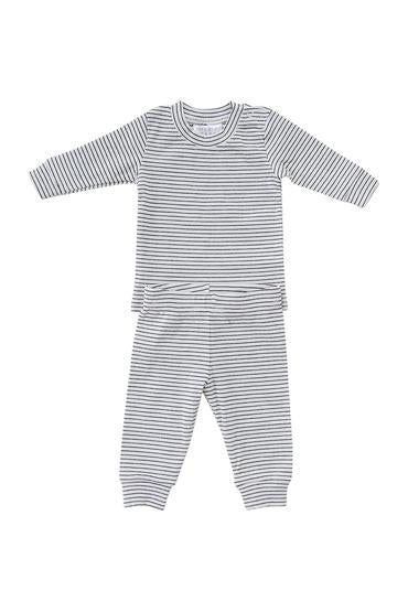 Black & White Striped Ribbed Two-piece Cozy Set