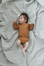 Mustard Organic Cotton Snap Long Sleeve Ribbed Bodysuit