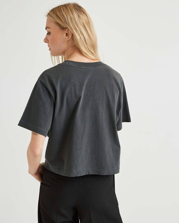 Relaxed Short Sleeve Crop Stretch Limo
