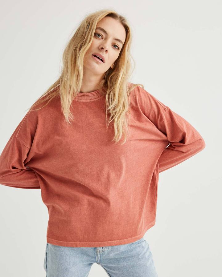 Relaxed Long Sleeve Pullover Summer Cinnamon