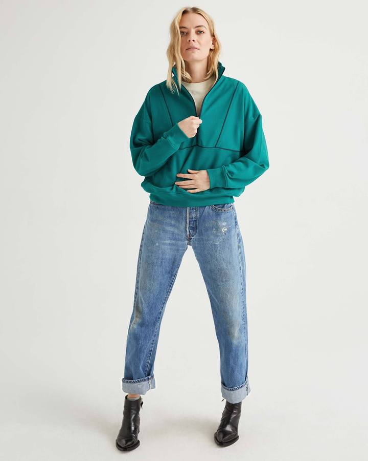 Terry Mockneck Sweatshirt Everglade