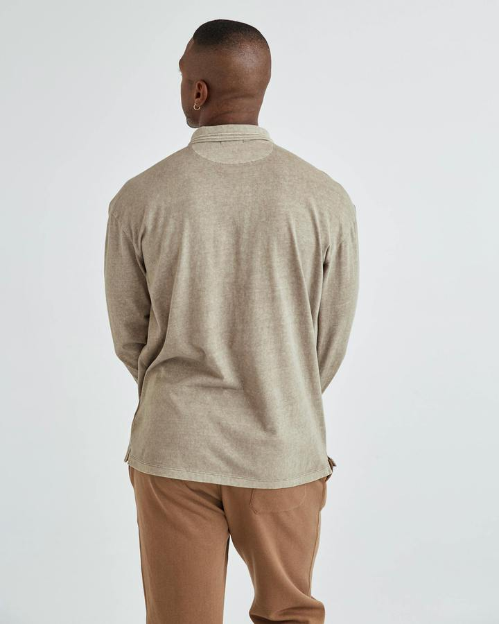 Men's Relaxed Long Sleeve Polo Warm Grey