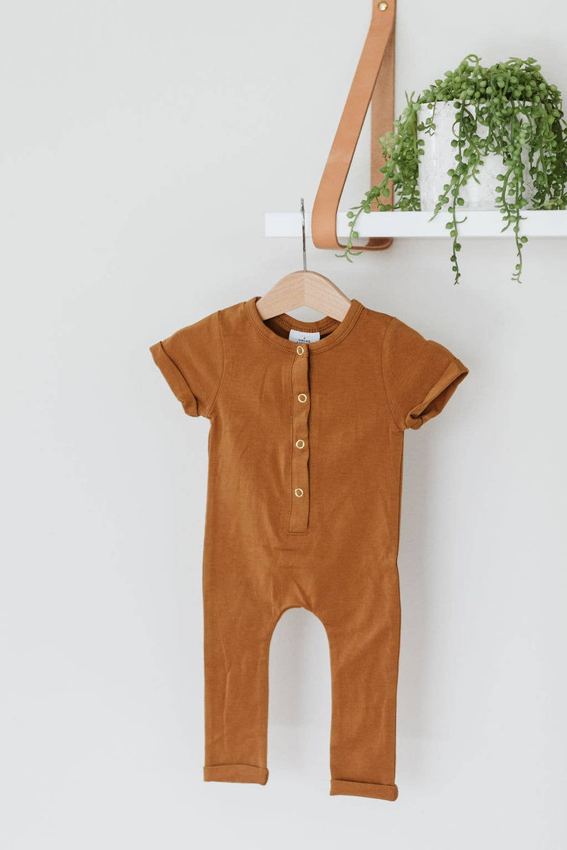 Short Sleeve Henley Romper Butterscotch