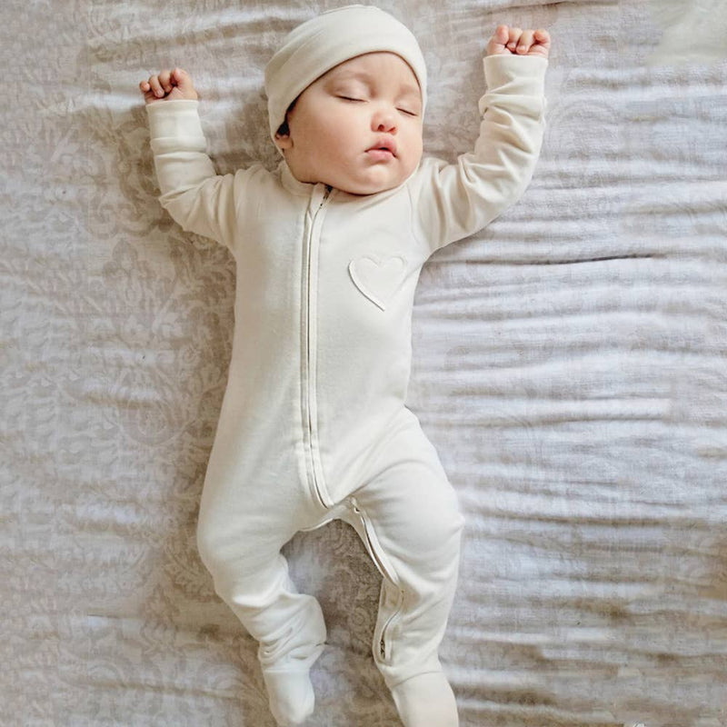 Organic Baby Heart Footie Romper Natural