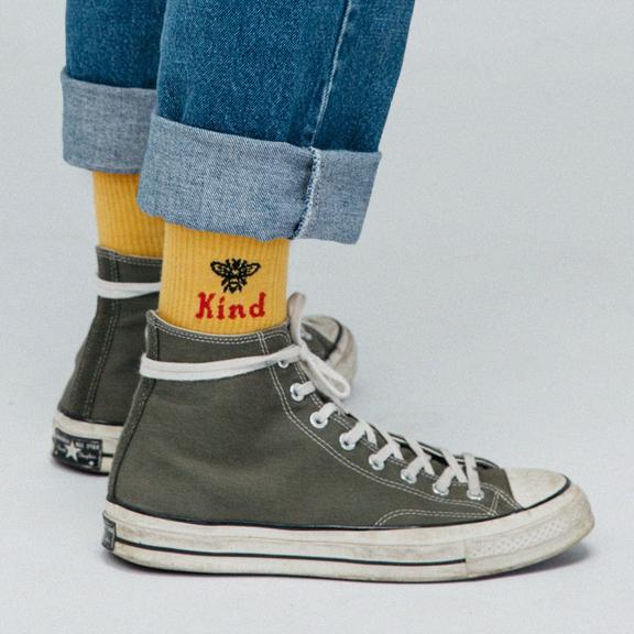 Beholder Yellow Bee Kind Socks