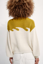 Organic Cotton Wave Sweater Chartreuse/Natural