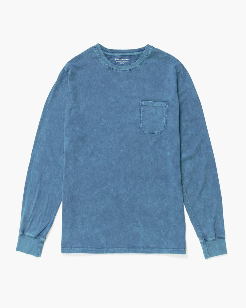 Long Sleeve Crew Pocket Tee Indigo