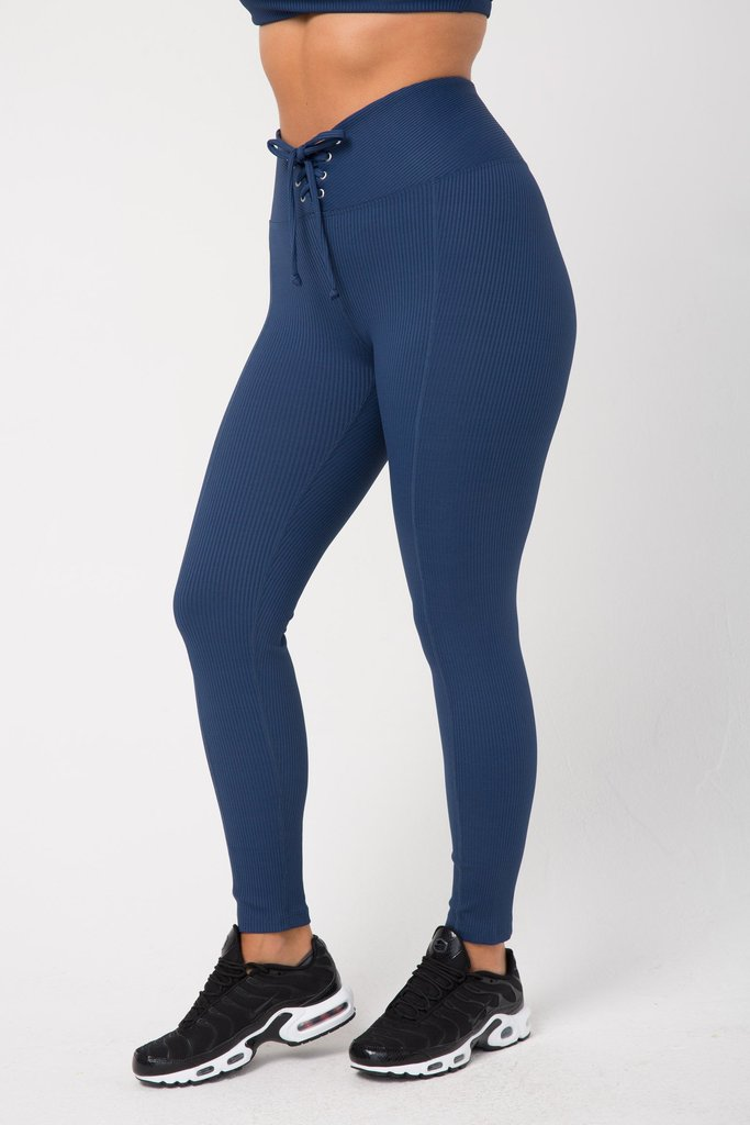 Ribbed Football Leggings Navy