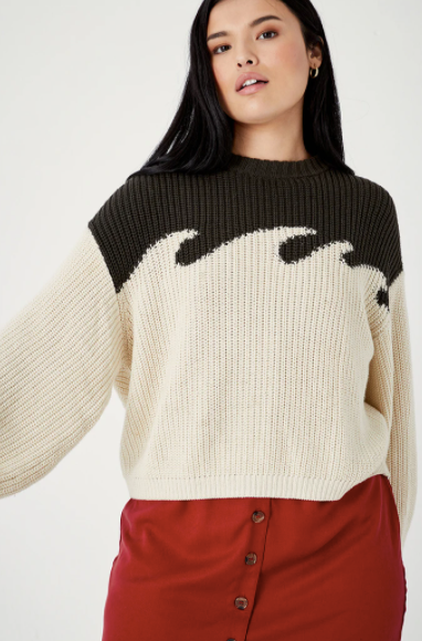 Organic Cotton Wave Sweater Cement/Natural