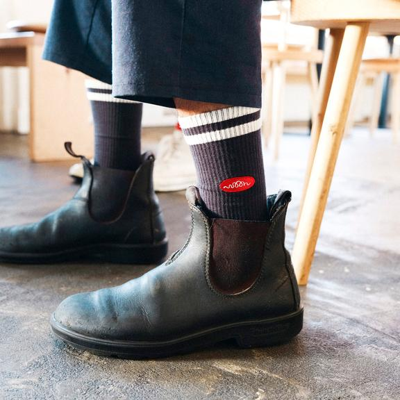 Woon Stripe Black Sock Men's