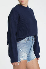 Taylor Sleeve Tab Sweater Royal Navy