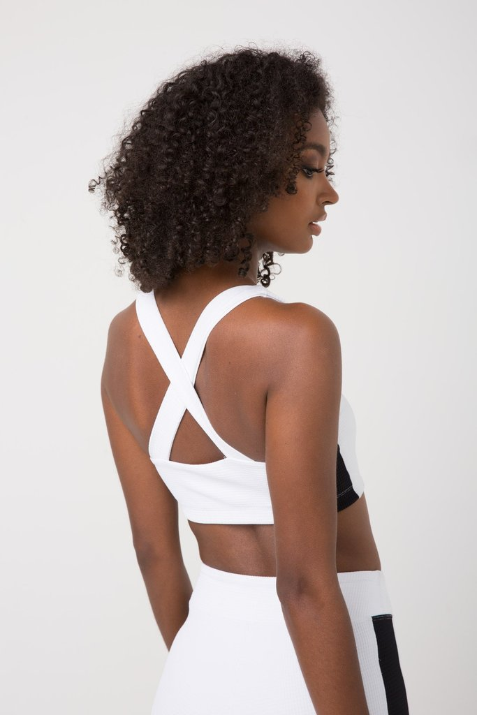 Thermal Cross Back Track Bra White