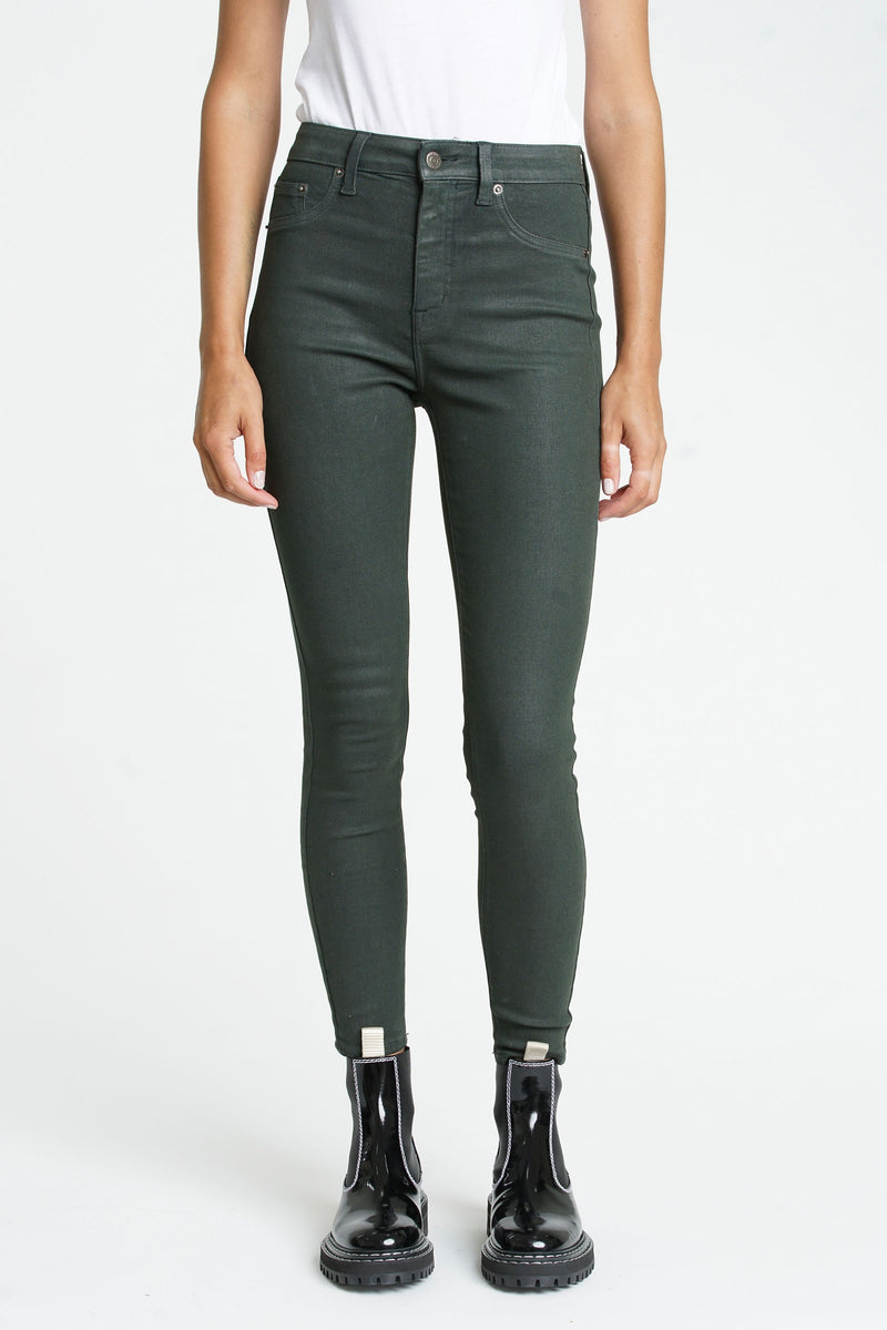 Aline High Rise Skinny Coated Green