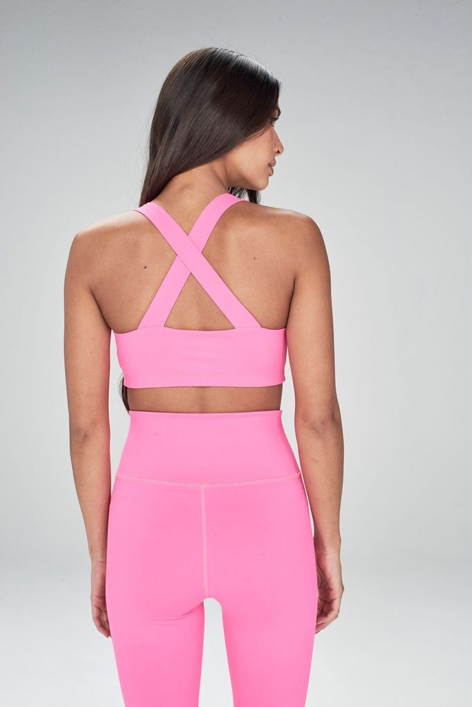 Cross Back Bra Hot Pink