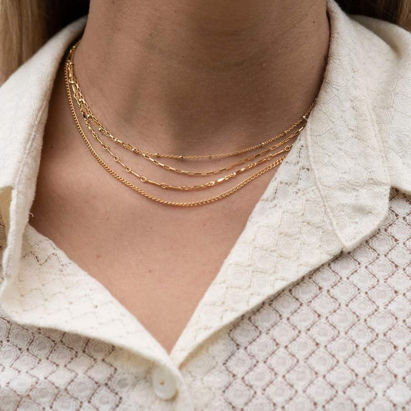 Gold Thin Box Necklace