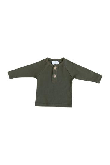 Olive Long Sleeve Button Up Top