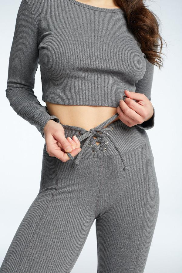 Ribbed Football Leggings Heather Grey