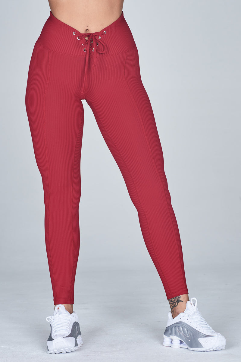 Ribbed Football Legging Deep Red