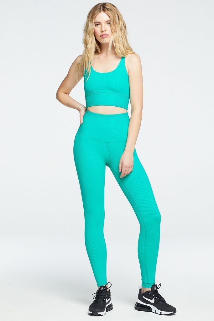 The Ribbed High High Legging Green