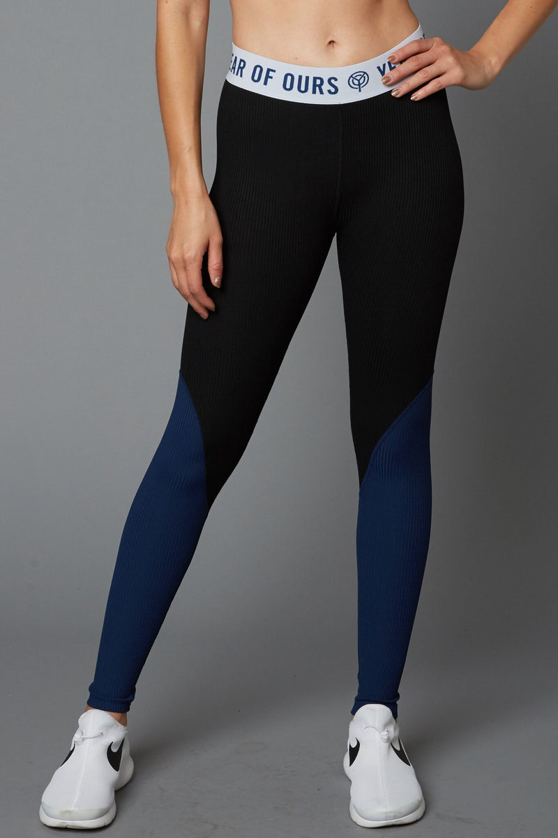 Two Tone Ribbed Leggings Navy/White