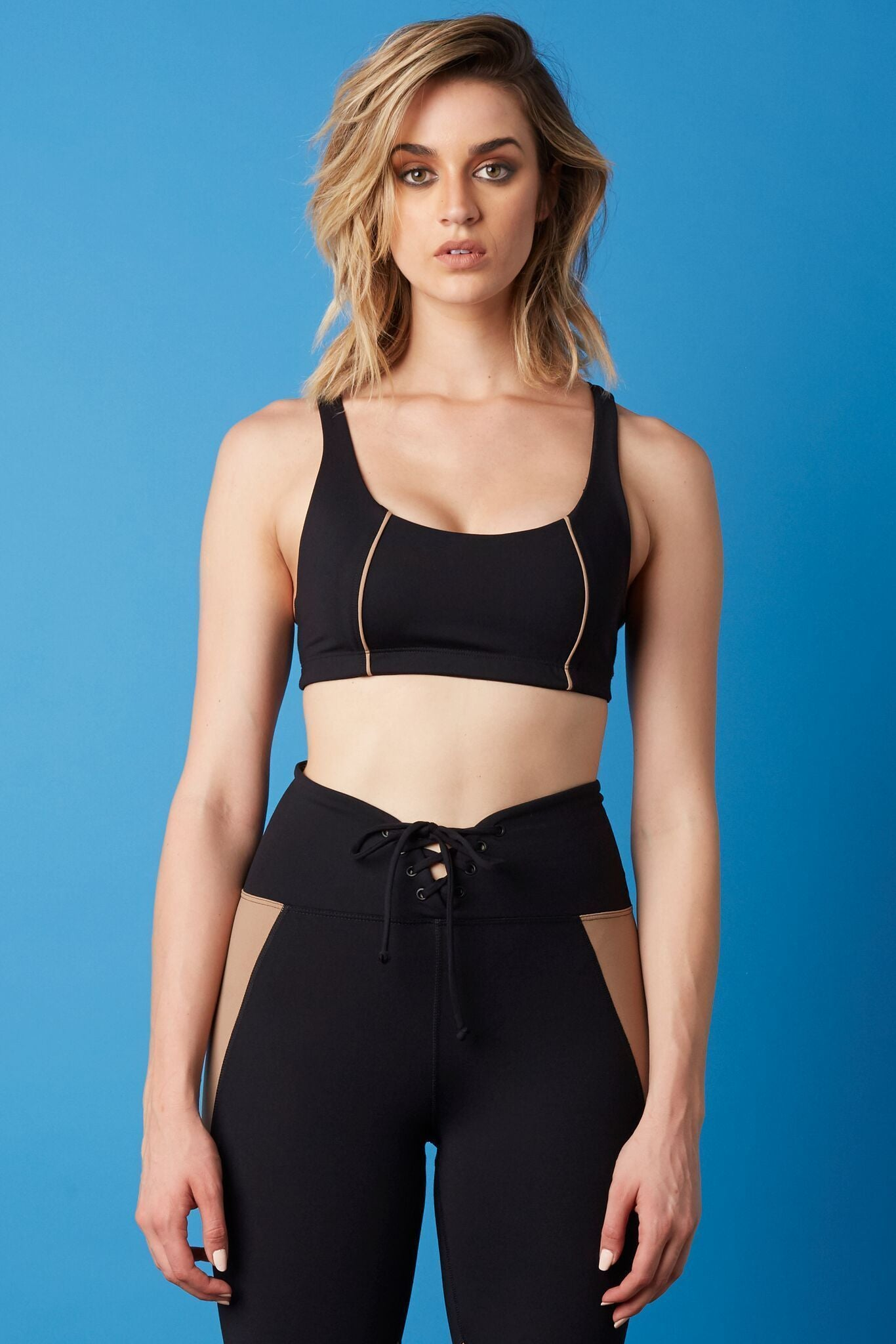 Color Blocked Basic Bra Black/Doe