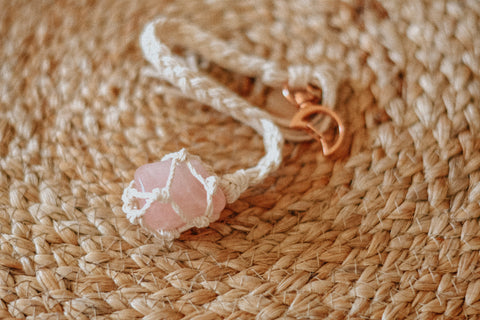Wrapped Rose Quartz Keychain