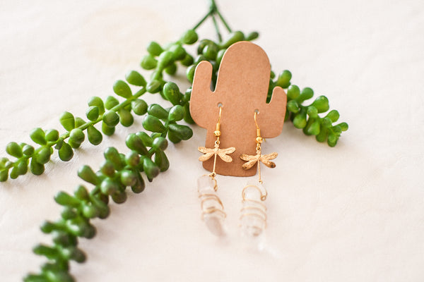 antique brass x quartz earrings