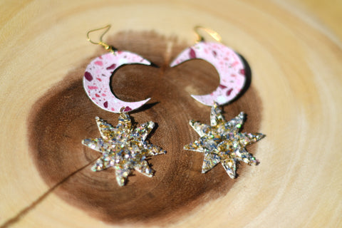 Moon and the Stars Vegan Leather Earrings