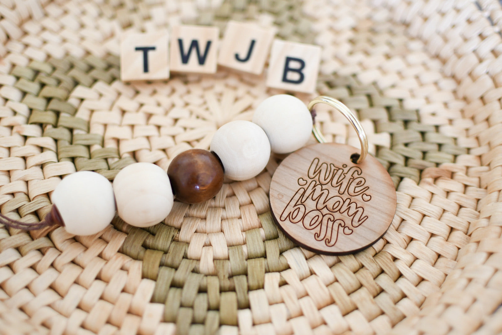 "Rustic Wood ""wife mom boss"" Keychain"