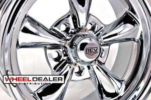 "(4) 15x6"" Chrome REV Classic 100 (GM Car)"