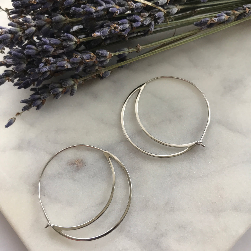 Silver Crescent Moon Hoops