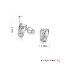 Load image into Gallery viewer, Swarovski Crystal Pave Owl Stud Earring in 18K White Gold Plating