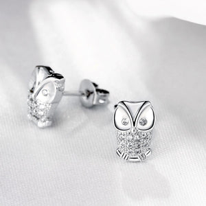 Swarovski Crystal Pave Owl Stud Earring in 18K White Gold Plating