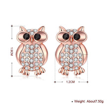 Load image into Gallery viewer, Swarovski Crystal Large Owl Stud Earring in 18K Rose Gold Plating