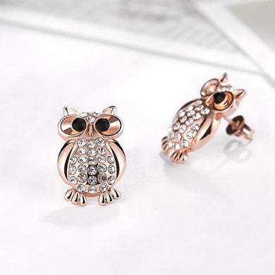 Swarovski Crystal Large Owl Stud Earring in 18K Rose Gold Plating