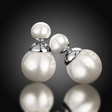 Load image into Gallery viewer, Double Pearl Earring Stud Earring in 18K White Gold Plating