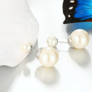 Double Pearl Earring Stud Earring in 18K White Gold Plating