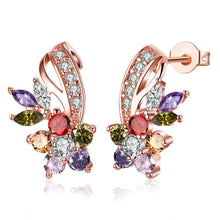 Load image into Gallery viewer, 18K Rose Gold Plated Rainbow Earrings Made with