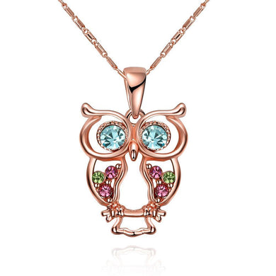 Owl Rainbow Swarovski Elements Necklace in 14K Rose Gold Plating