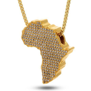 Iced Out Mother Africa Diamond Pendant Necklace